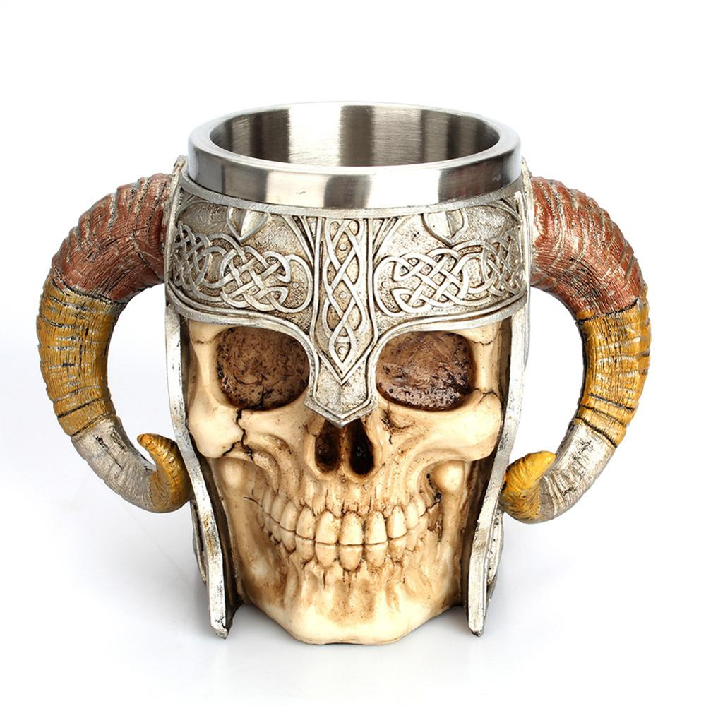 1Pcs 304 Stainless Steel Skull Coffee Mug Viking Skull Beer Steins Gift for Men Fathers Day Gifts Halloween Bar Home Decoration csfssd Color : G12